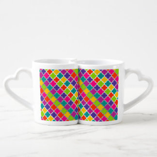 Wedding Moroccan Tile Modern Colorful Pattern Couples Mug