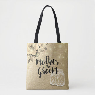 Wedding Mother of the Groom Floral Mason Jar Light Tote Bag