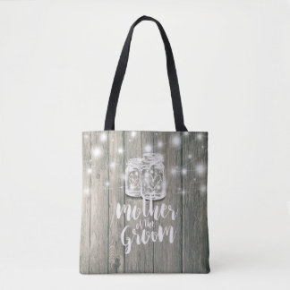 Wedding Mother of the Groom Wood Mason Jar Lights Tote Bag