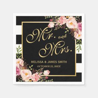 Wedding Mr. and Mrs. Floral Gold Frame Stripes Disposable Serviette