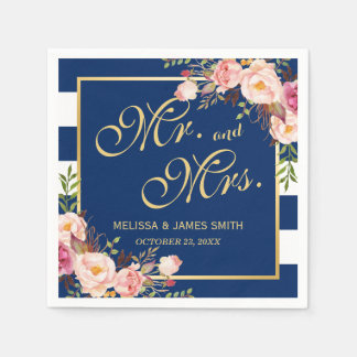 Wedding Mr. and Mrs. Floral Gold Navy Blue Stripes Disposable Napkins