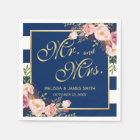 Wedding Mr. and Mrs. Floral Gold Navy Blue Stripes Disposable Serviette