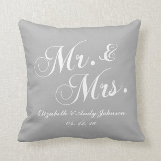 Wedding Mr and Mrs Gray White Throw Pillow