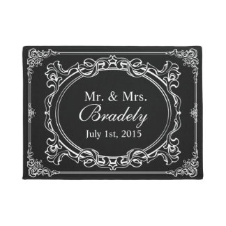 Wedding Mr. and Mrs. Vintage Black and White Frame Doormat