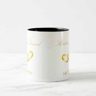Wedding Mug with joined Gold Rings Graphic