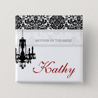Wedding Name Tag Button Chandelier BW Damask