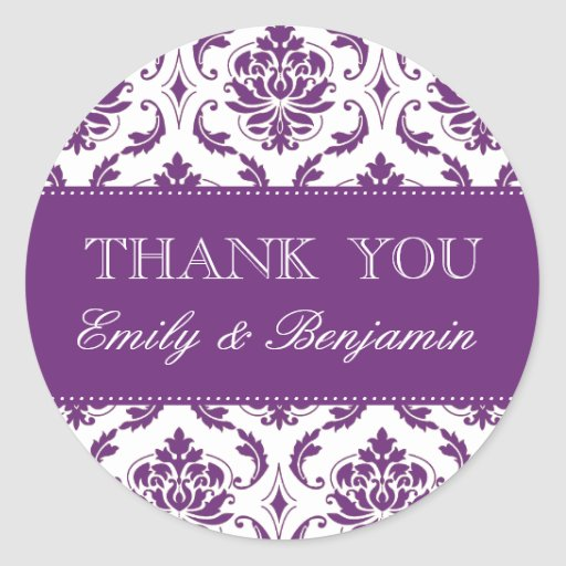 Wedding Names Purple Damask Thank You Labels Sticker