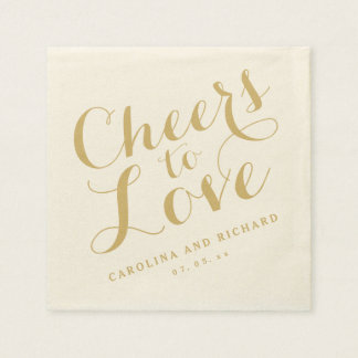 Wedding Napkins | Gold Cheers to Love Disposable Napkin