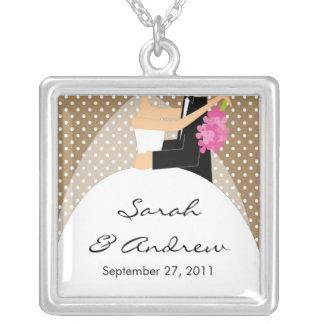 Wedding Necklace Bride & Groom Brown Polka Dots
