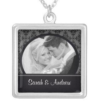 Wedding Necklace Photo Black Grey Damask Pendant