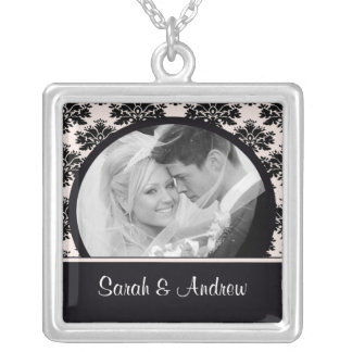 Wedding Necklace Photo Black Pink Damask Pendant