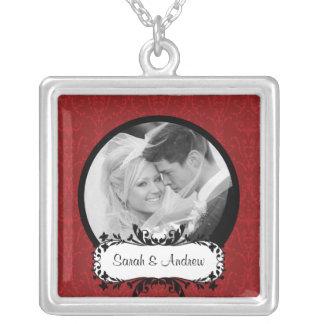 Wedding Necklace Photo Black Red Damask Pendant