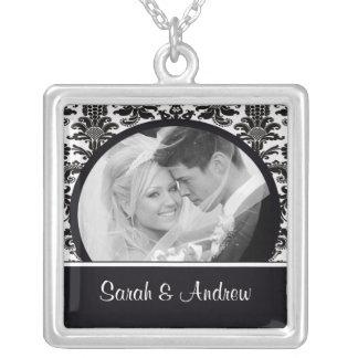 Wedding Necklace Photo Black White Damask Pendant