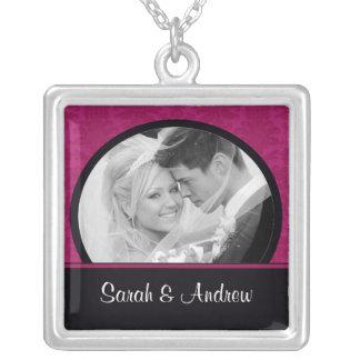 Wedding Necklace Photo Hot Pink Damask Pendant
