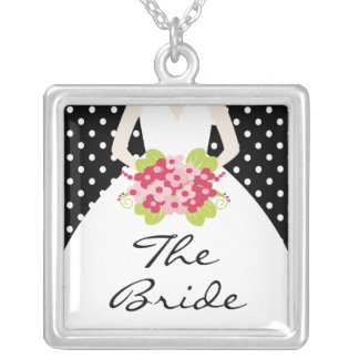 Wedding Necklace the Bride Black Polka Dot Pendant