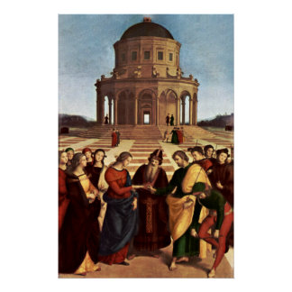 Wedding of the Virgin by Raffael Poster