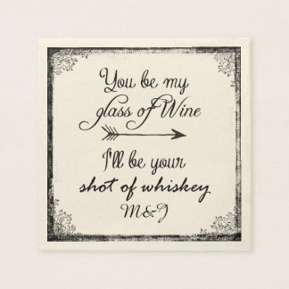 Wedding or Anniversary Fun Quote with Initials Paper Napkins