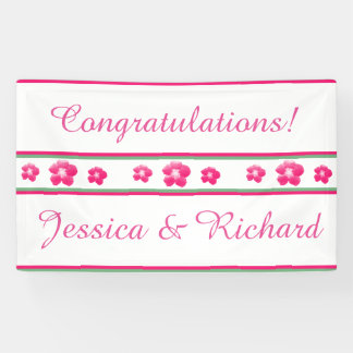 Wedding or Engagement Party Banner White and Pink