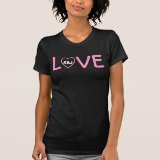 Wedding or Romance Love Heart Custom Initials V01 T-Shirt