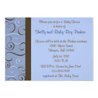"""Wedding or Shower Invitation in Blue and Brown 5"""" X 7"""" Invitation Card"""