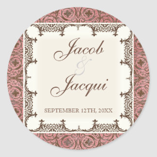 Wedding or Shower Stickers - Pink Brown Damask