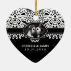 Wedding Ornament Black White Skeletons Lace Names