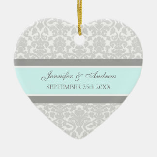 Wedding Ornament Favor Gray Blue Damask