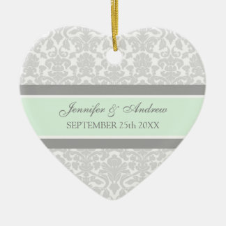 Wedding Ornament Favor Gray Mint Damask