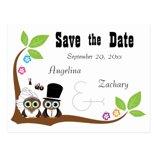 Wedding Owl Bride And Groom Save The Date Post Card