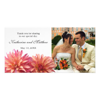 Wedding Painted Pink and Coral Dahlia Flower Personalized Photo Card