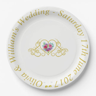 Wedding Paper Plate with Hearts & Flowers Graphics