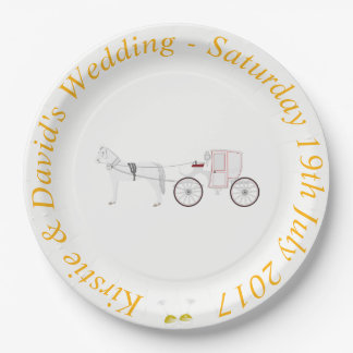 Wedding Paper Plate with Horse & Carriage Graphic