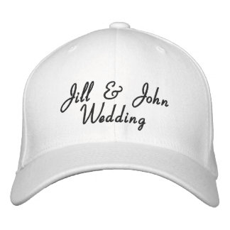 Wedding Party Bride & Groom Names White Hat Embroidered Cap