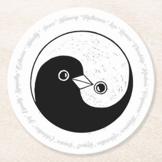 WEDDING PARTY COASTER. b/w YinYang doves Round Paper Coaster