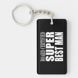 Wedding Party Favor Board Certified Super Best Man Double-Sided Rectangular Acrylic Key Ring