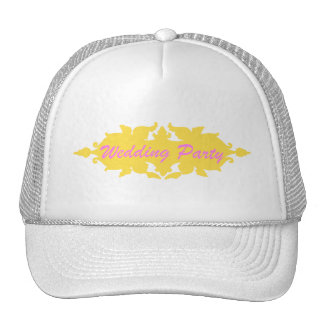 Wedding Party Golden Yellow Vintage Style Banner Hat