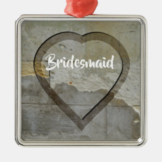 Wedding Party Keepsakes Stone Heart Metal Ornament