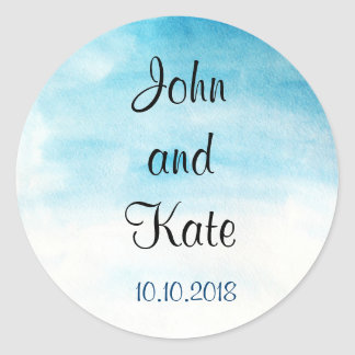 Wedding party  on blue watercolor background round sticker