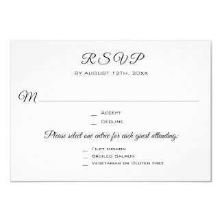 Wedding Party or Event 3 Entree RSVP Response Card