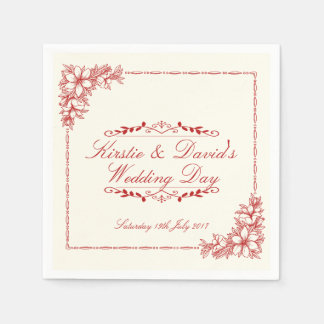 Wedding Party Paper Napkins with ornate graphics