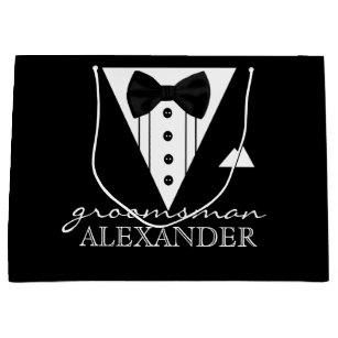 Wedding Party Personalised Groomsman Tuxedo Large Gift Bag
