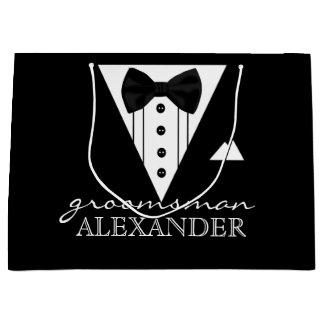 Wedding Party Personalized Groomsman Tuxedo Large Gift Bag