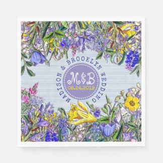 Wedding Party Wildflowers Monogram Vintage Floral Paper Napkins