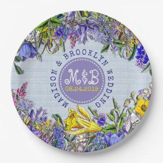 Wedding Party Wildflowers Vintage Purple Floral Paper Plate