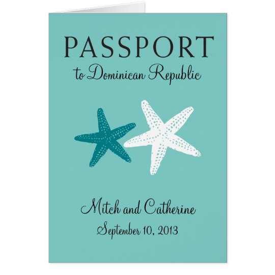 Wedding Passport Invitation to Dominican Republic
