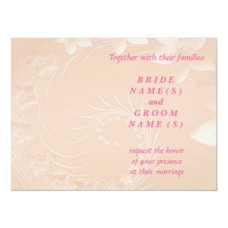 Wedding - Pastel Brown Abstract Flowers 17 Cm X 22 Cm Invitation Card