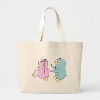 Wedding Penguins Tote Bags
