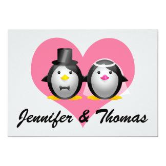 """Wedding Penguins, Jennifer & Thomas 5"""" X 7"""" Invitation Card"""