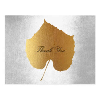 Wedding Personalized Golden Leaf Silver Postcard