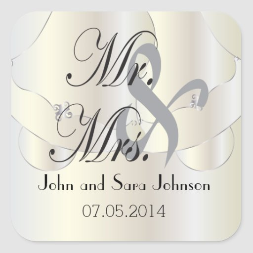 Wedding Personalized Mr & Mrs Square Stickers